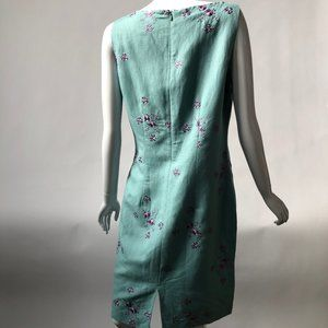 Jessica Howard Dresses - Aqua Shift Dress with Lilac Embroidered Flowers -